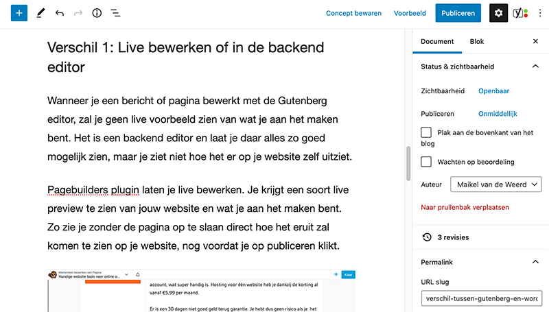 Backend editor Gutenberg
