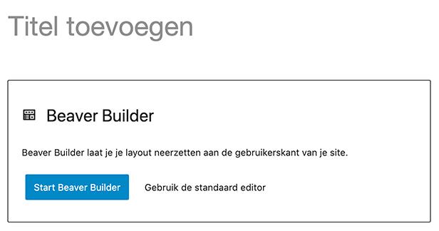 Beaver Builder editor starten