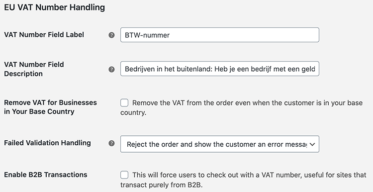 EU Vat Number instellingen in WooCommerce