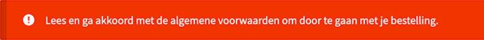 Melding wanneer er geen akkoord is voor de algemene voorwaarden in WooCommerce