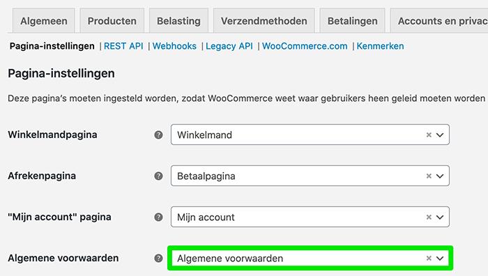 Algemene voorwaarden instellen / verplichten in WooCommerce