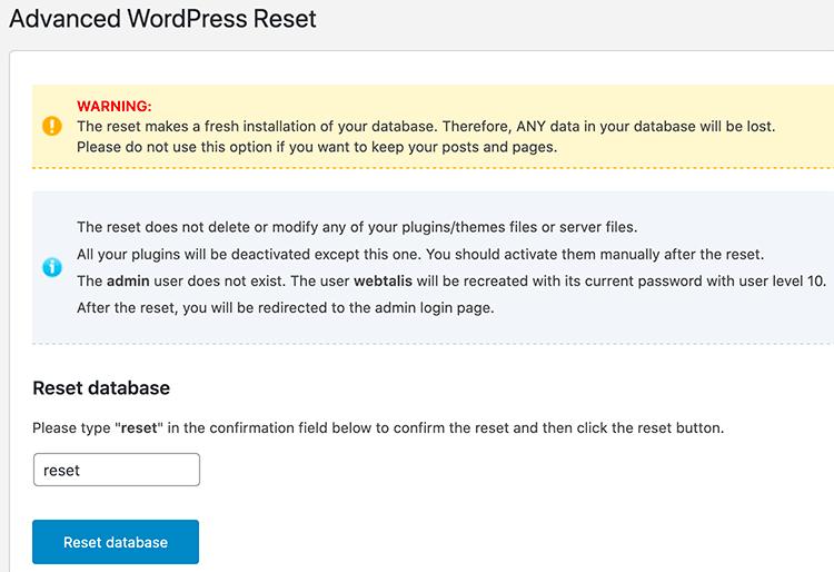 WordPress database resetten