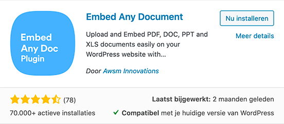 Embed Any document plugin installeren