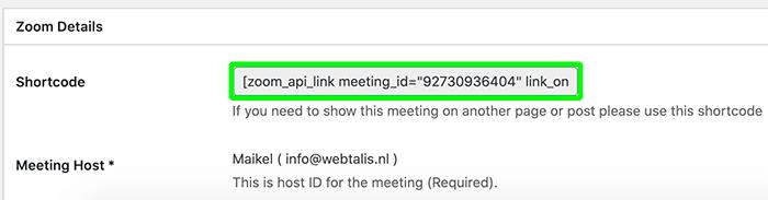 Shortcode voor Zoom meeting