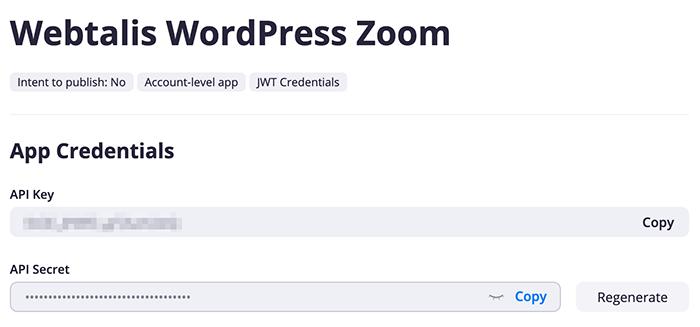 Zoom API keys