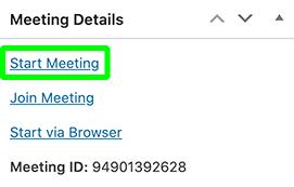 Zoom meeting starten in WordPress