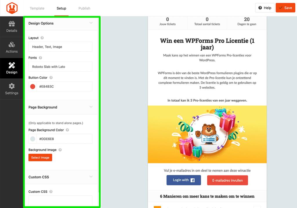 Design opties in RafflePress
