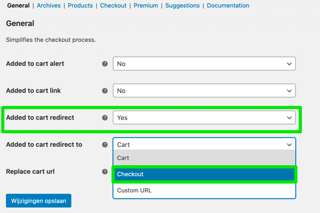 Algemene instellingen van de Direct Checkout plugin