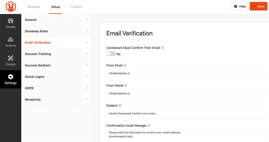 E-mail verificatie om deel te mogen nemen aan de winactie