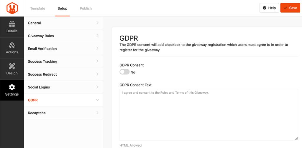 GDPR (AVG) instellingen in RafflePress
