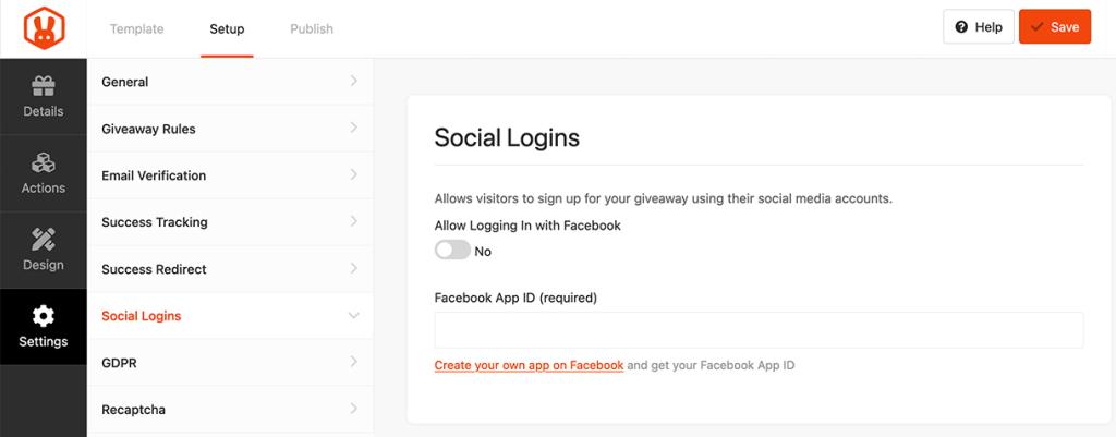 Social logins voor RafflePress