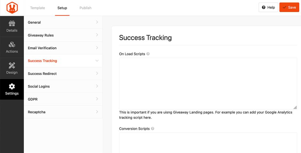 Succes tracking codes invullen voor RafflePress
