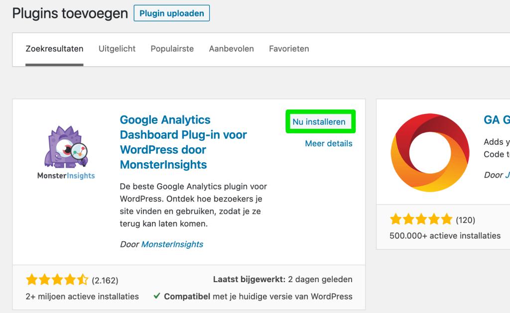 WordPress plugin nu installeren