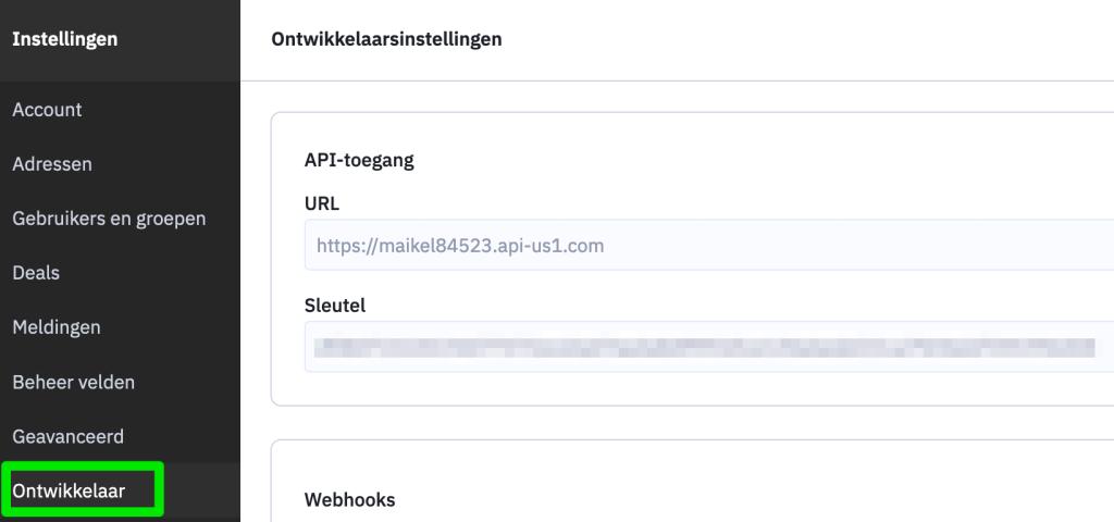 Activecampaign API URL en Key