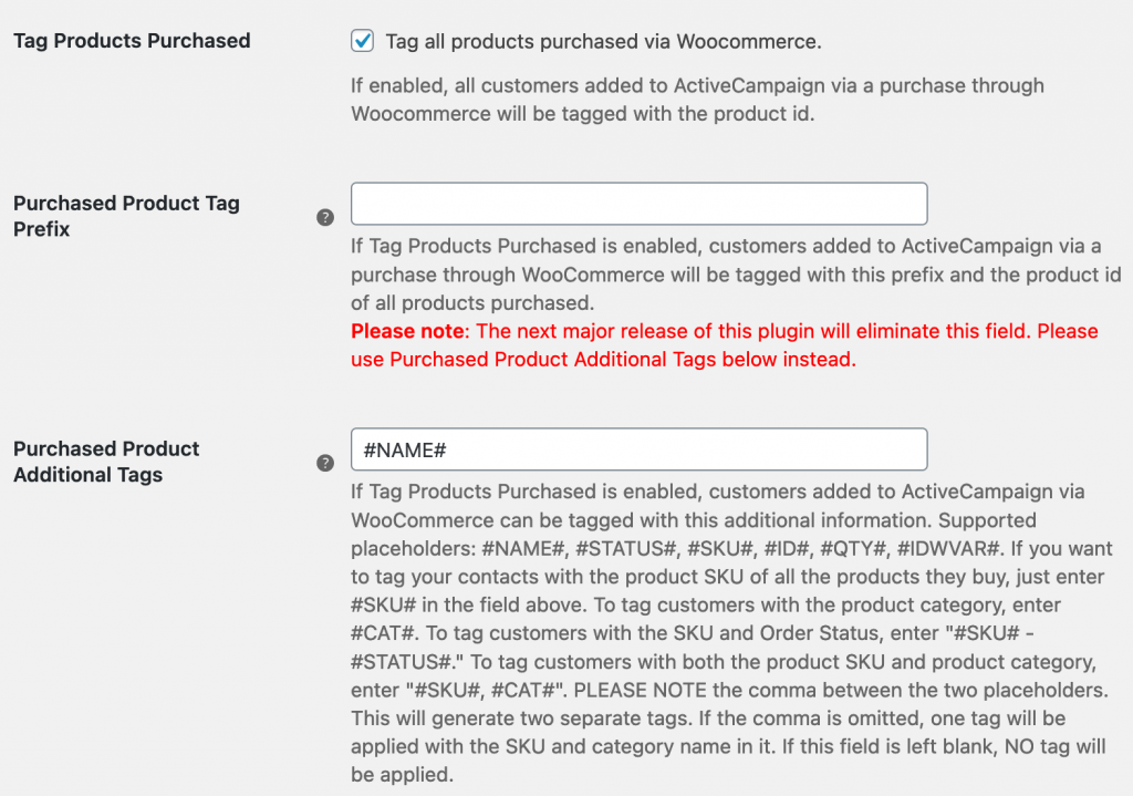 ActiveCampaign tag instellingen in WooCommerce