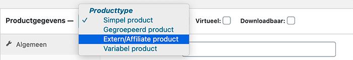 Extern / Affiliate product selecteren bij Producttype