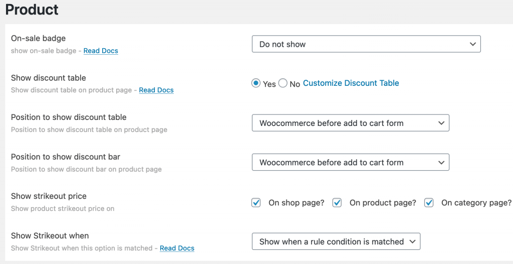 Product instellingen voor de Discount rules for WooCommerce plugin