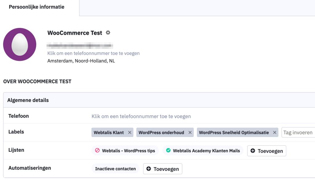 WooCommerce ActiveCampaign aanmelding mailinglijst en tags