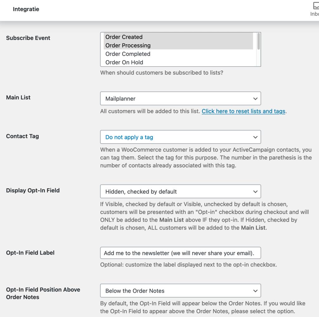 WooCommerce ActiveCampaign instellingen
