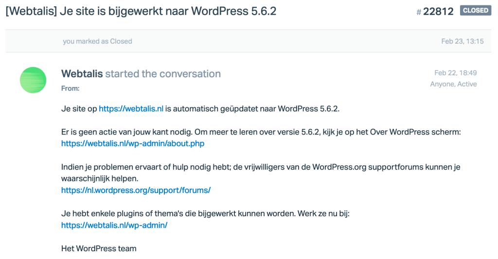 Automatische update e-mail notificatie in WordPress