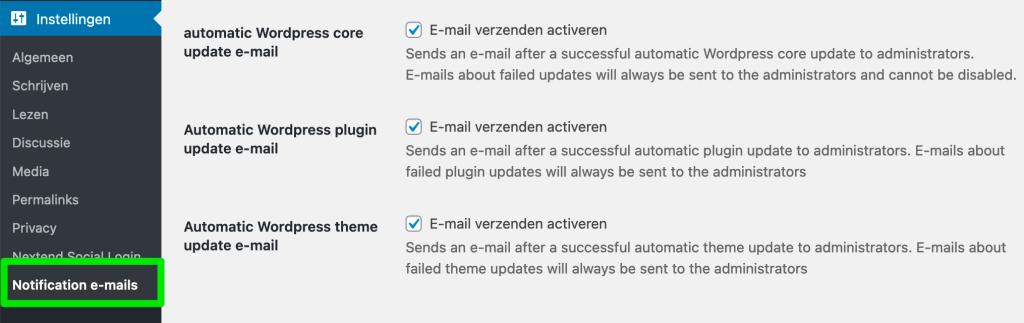 WordPress e-mails uitschakelen