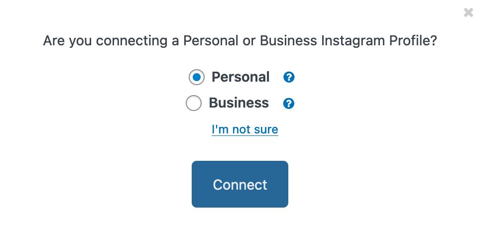 Instagram accounttype selecteren