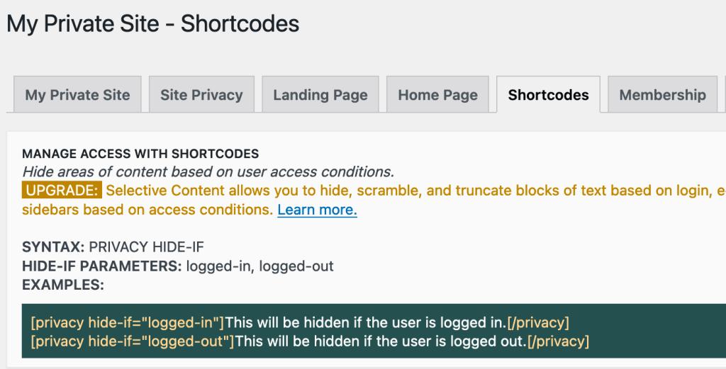 Content verbergen met shortcodes
