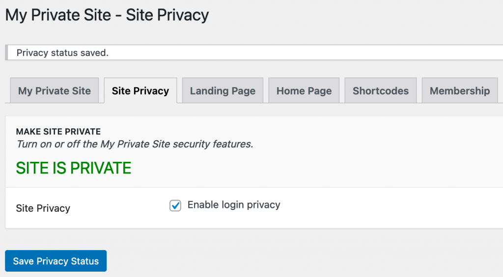 WordPress is succesvol ingesteld op privé