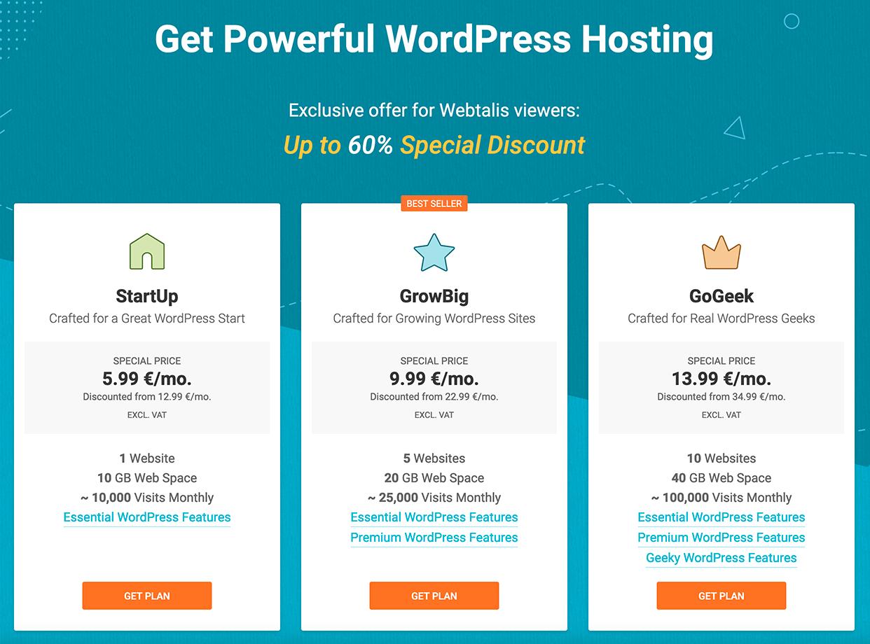 Hostingpakketten bij SiteGround