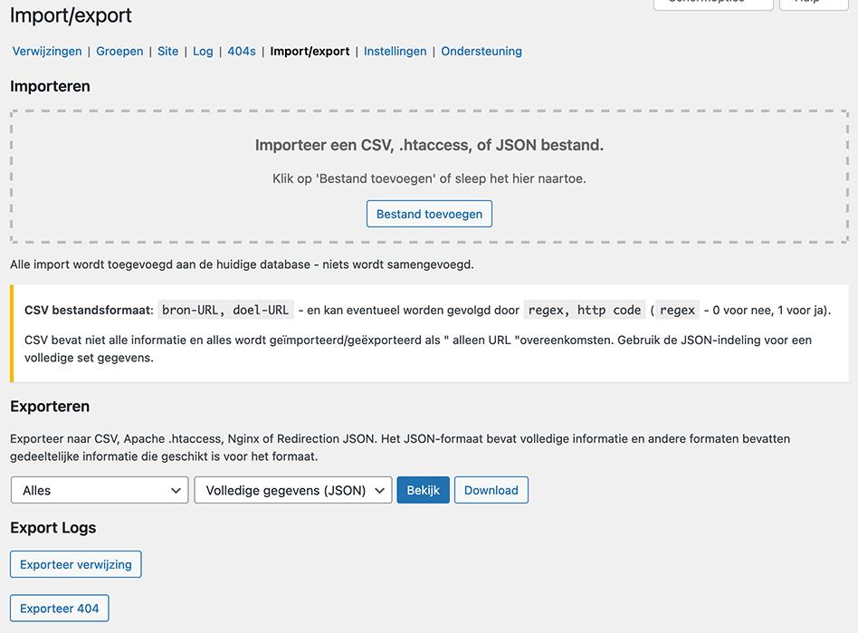 Redirects importeren of exporteren in WordPress