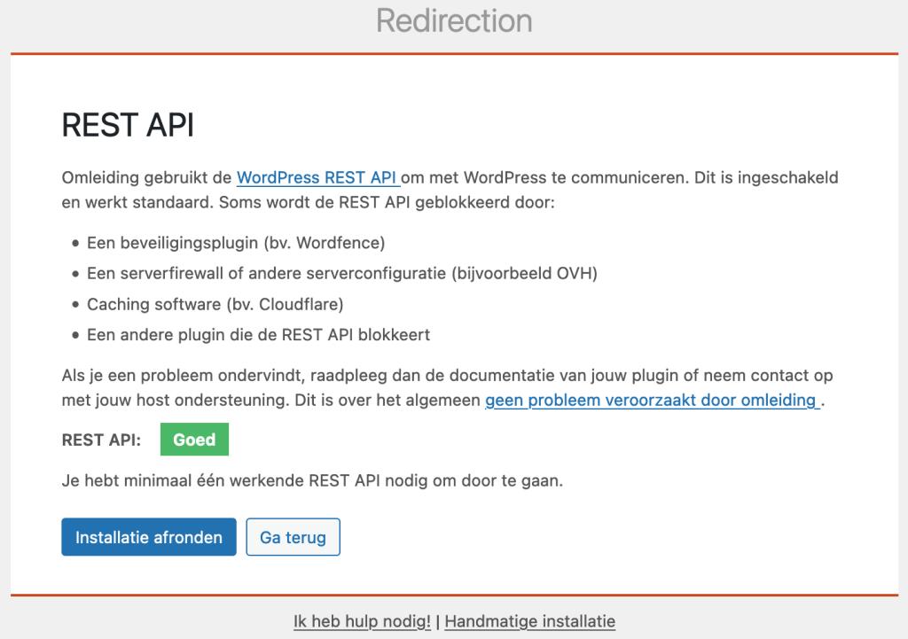 WordPress REST API controle door de Redirection plugin