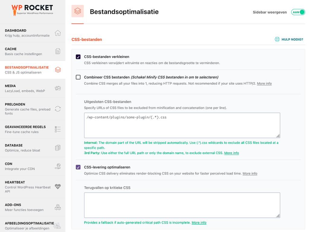 Kritieke CSS laten genereren met WP Rocket