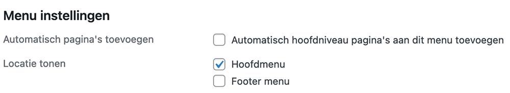 Menu locatie selecteren in WordPress