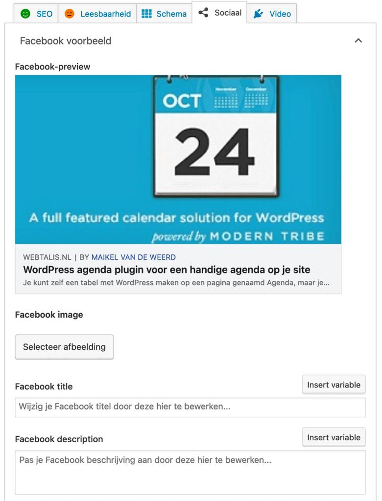 Afbeelding, titel en beschrijving instellingen voor Facebook en Twitter