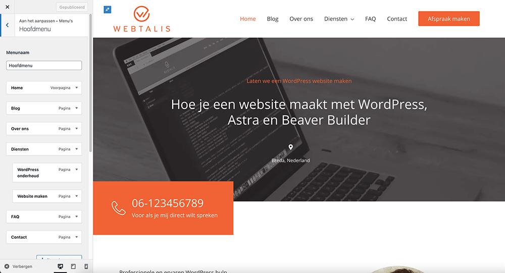WordPress menu aanpassen via de Customizer