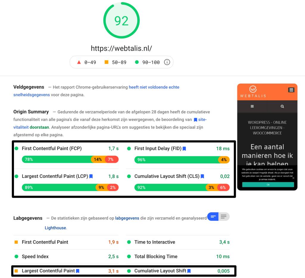 Google PageSpeed score Webtalis voor de Core Web Vitals