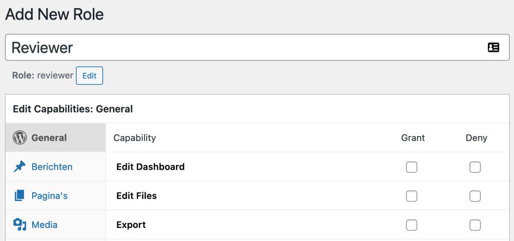 Nieuwe gebruikersrol toevoegen in WordPress