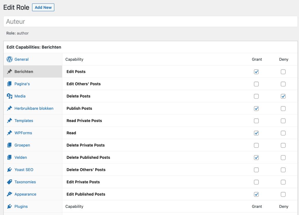 Rechten gebruikersrol wijzigen in WordPress