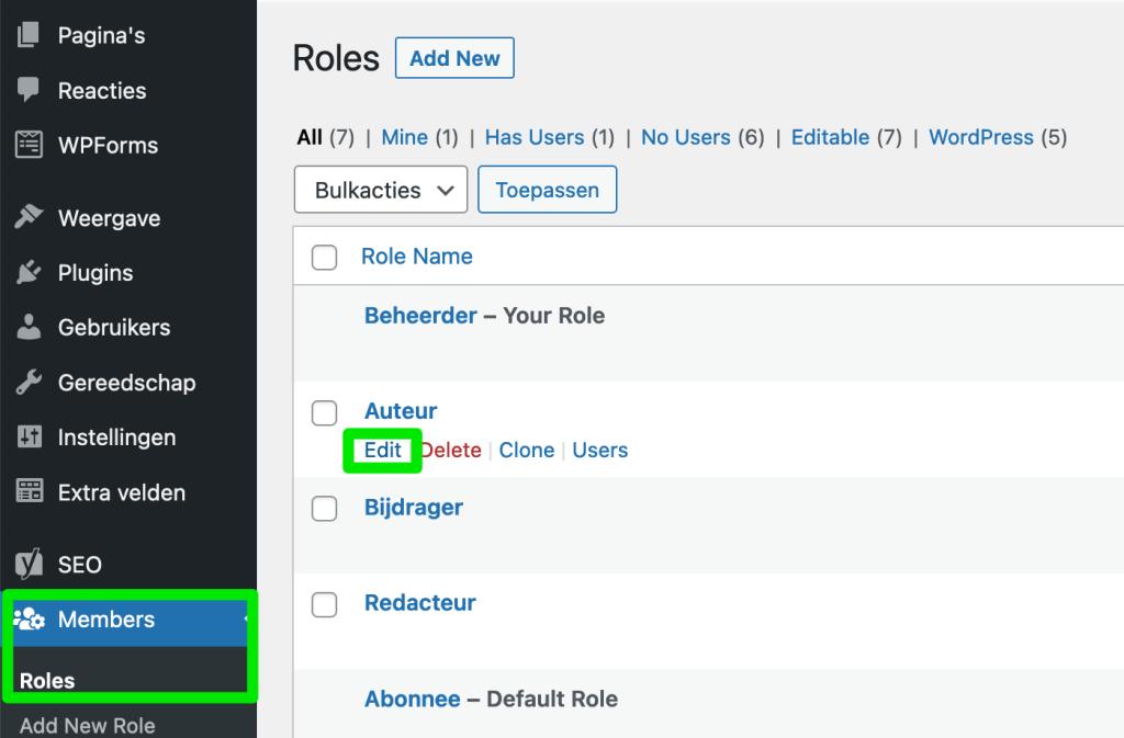 WordPress gebruikersrol bewerken